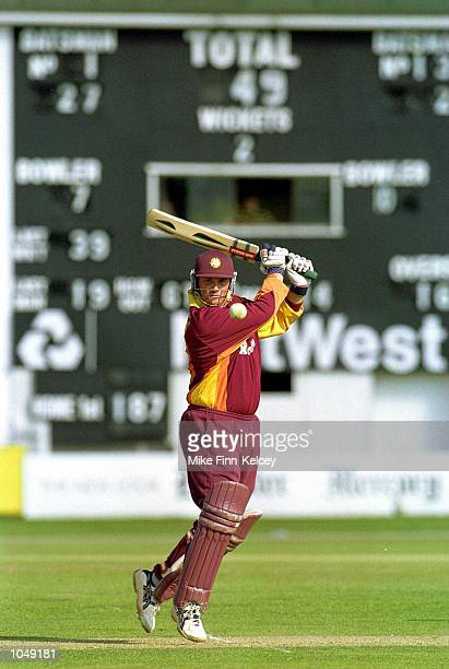 David Sales of Nottinghamshire Steelbacks hits out on his way to 40 against Leicestershire Foxes in the Norwich Union NCL match at Leicester...