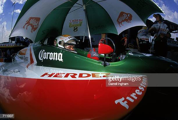 Driver Michel Jourdain Jr #16 of Mexico who drives the Mercedes Lola B2K/00 for Bettenhausen Racing is waiting in pit lane during the Target Grand...