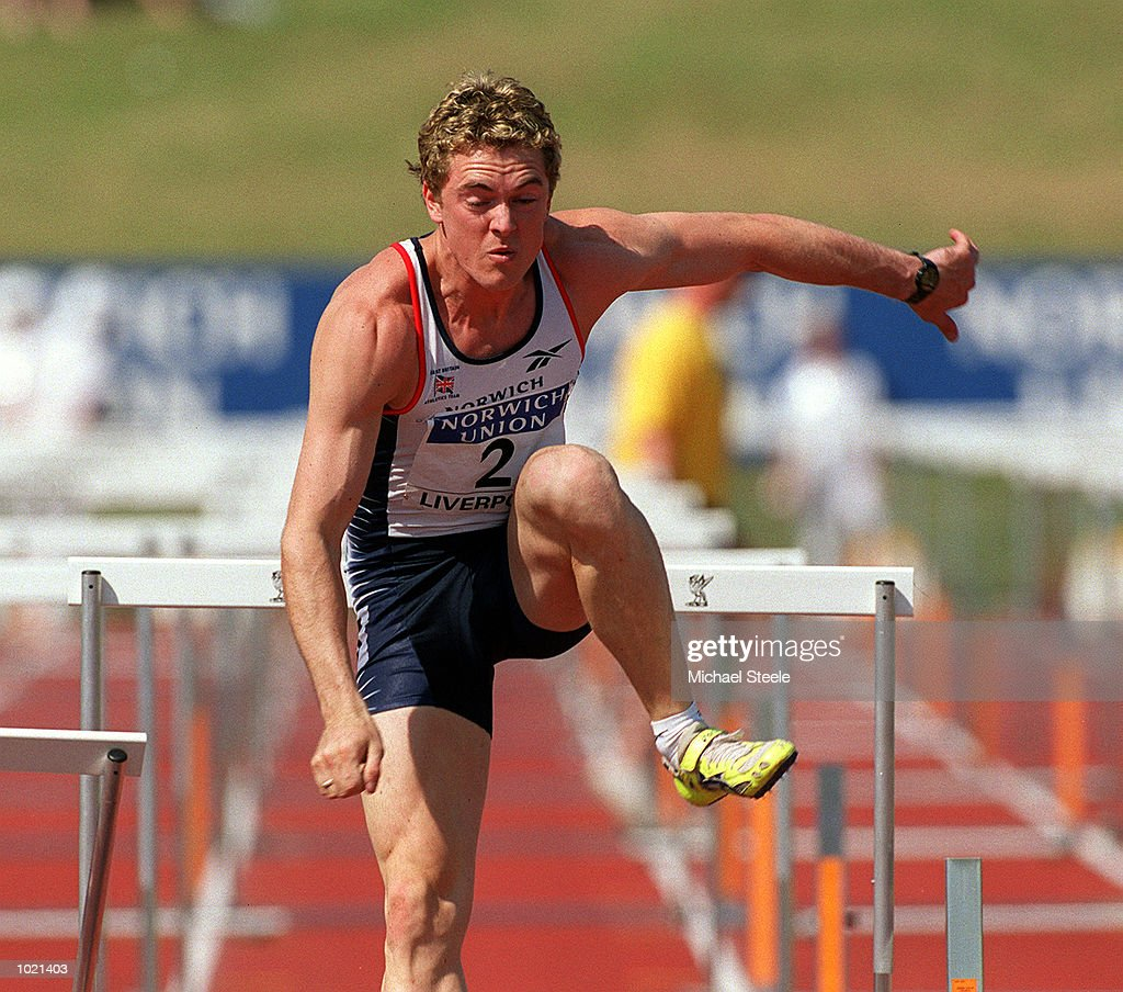 Duncan Malins of Great Britain in action during the Men's 110 metres hurdles final of the Norwich Union International Athletics Under 23 Meeting at Wavertree Athletics Centre, Liverpool. Mandatory Credit: Michael Steele/ALLSPORT