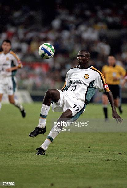 Ezra Hendrickson of the Los Angeles Galaxy gets ready to kick the ball during the game against the D.C. United at the RFK Stadium in Washington, D.C....