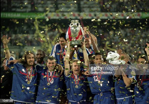 France celebrate victory after the European Championships 2000 Final against Italy at the De Kuip stadium, Rotterdam, Holland. France won 2-1 after...