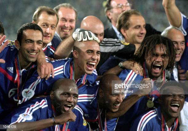 France players celebrate after the European Championships 2000 Final against Italy at the De Kuip stadium, Rotterdam, Holland. France won 2-1 after...