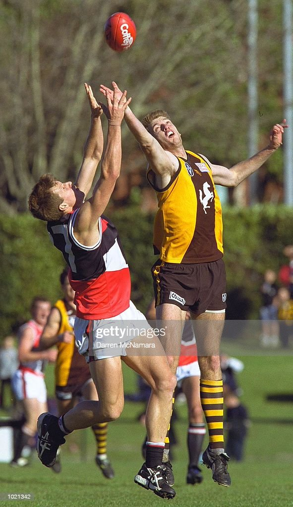 Garth Pickford #37 for St.Kilda, contest's a mark with David Loats #26 the Box Hill Hawks, during the Round 18 VFL game between the Box Hill Hawks and St.Kilda, which was played at the Box Hill Oval, Box Hill, Australia Mandatory Credit: Darren McNamara/ALLSPORT
