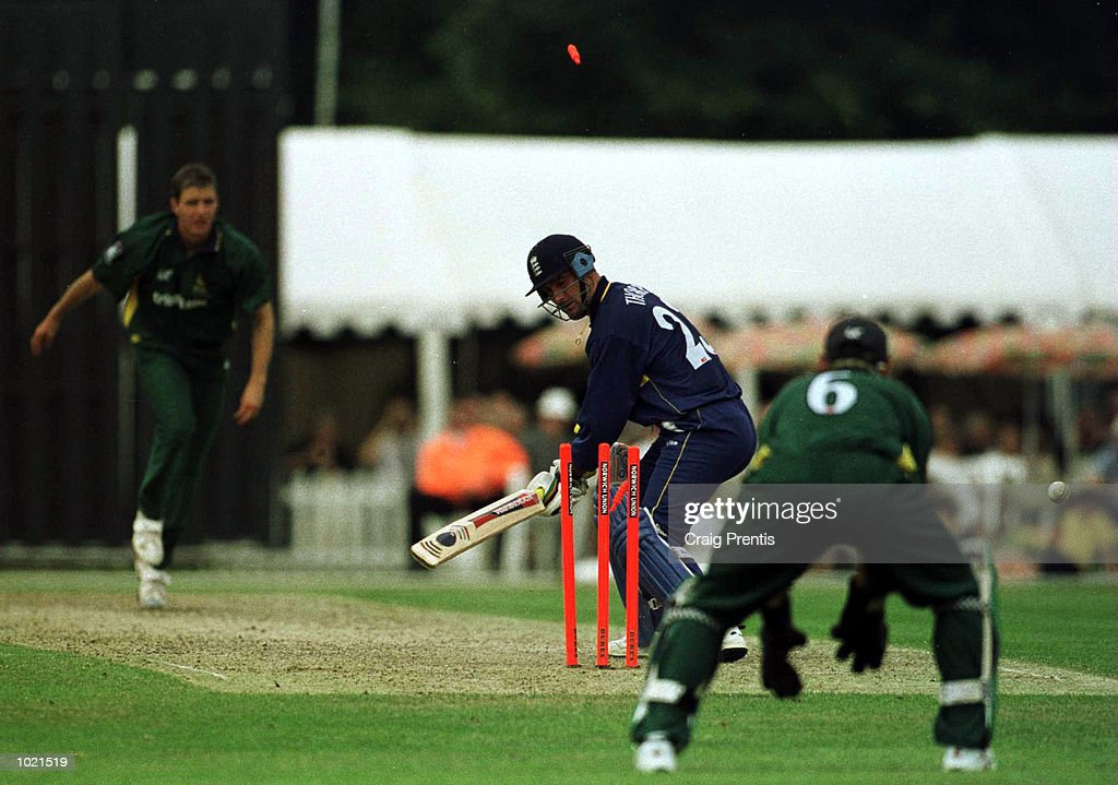 Graham Thorpe of Surrey is bowled by Paul Franks of Nottinghamshire on a free ball [after a no ball] in the NCL Division Two match at the Woodbridge Road Sports Ground in Guildford in Surrey. Mandatory Credit: Craig Prentis/ALLSPORT