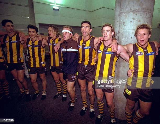 Hawthorn celebrate victory after the match between the Hawthorn Hawks and the Adelaide Crows during round 21 of the AFL season played at the...