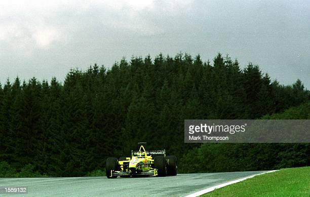 Heinz Harald Frentzen of Jordan and Germany in the Jordan EJ10 Mugen Honda during a practice session before Qualifying for the Formula One Austrian...
