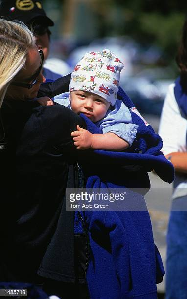 Kristin and Luke Armstrong family of Lance Armstrong of the US Postal Service Team watch the action of Stage 12 Carpentras to Mont Ventoux France of...