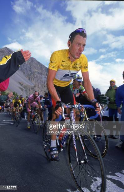Lance Armstrong of the U.S. Postal Service Team wearing the Yellow Jersey shows emotion during Stage 14, Draguignan to Briancon, France of the Tour...