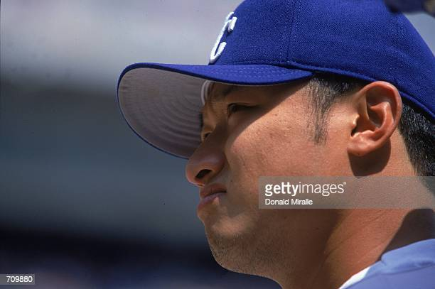 Mac Suzuki of the Kansas City Royals watches the action during the game against the Chicago White Sox at Comiskey Park in Chicago Illinios The Royals...