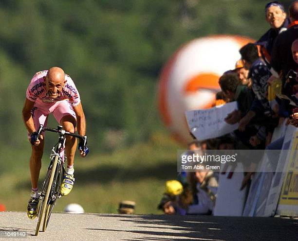 Marco Pantani of Italy and the MercatoneUno team climbs to the finish to win Stage 15 between BrianconCourchevel during the 2000 Tour De France...