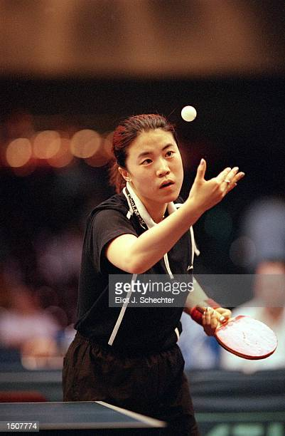 Nan Wang of China gets ready to serve during the US Open Table Tennis Championship Finals part of the ITTF Professional Tour at the Fort Lauderdale...