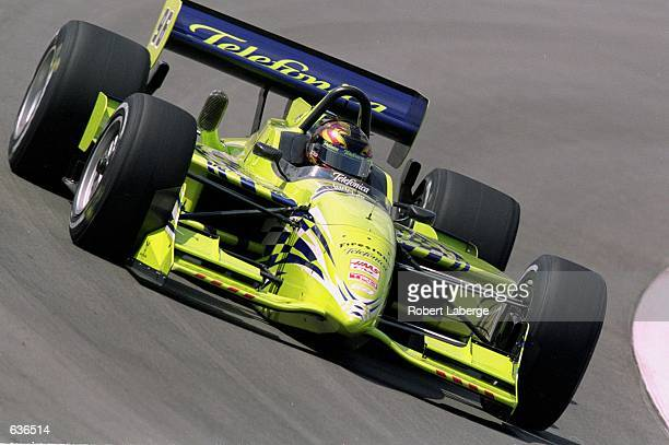 Oriol Servia of Spain who drives a Toyota Reynard 2KI for PPI Motorsports speeds around the track during the Target Grand Prix of Chicago part of the...