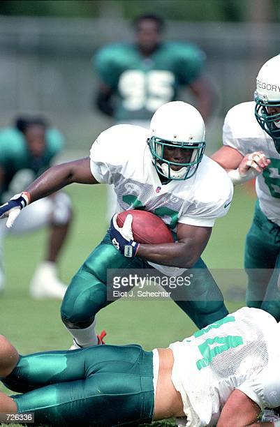 Patrick Surtain of the Miami Dolphins runs with the ball during the Dolphins Training Camp at the Nova University in Davie FloridaMandatory Credit...