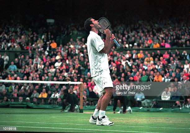 Pete Sampras of the USA gets fired up during the mens final match against Patrick Rafter of Australia at the Wimbledon Lawn Tennis Championship at...