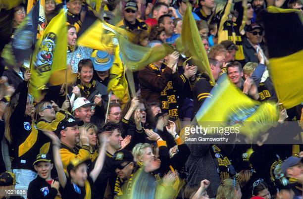 Richmond fans celebrate a goal in the match between the Richmond Tigers and the St Kilda Saints during round 20 of the AFL season played at the...