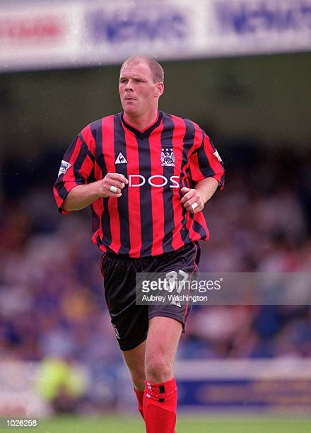 Robert Taylor of Manchester City in action during the PreSeason Friendly match against Gillingham at the Priestfield Stadium in Gillingham England...