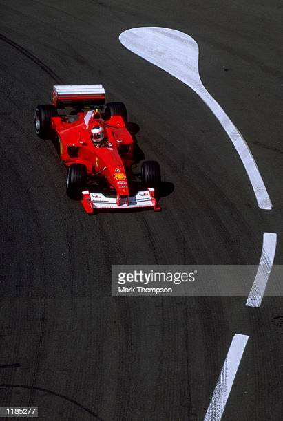 Rubens Barrichello of Brazil and Ferrari in action during the French Formula One Grand Prix at Magny Cours in France Mandatory Credit Mark Thompson...