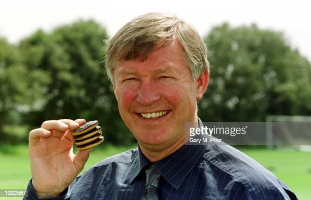 Sir Alex Ferguson manager of Manchester United during the press launch for a 5 Million Youth Academy sponsorship deal between Manchester United and...