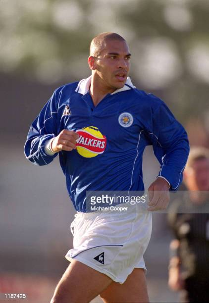 Stan Collymore of Leicester City in action during the PreSeason tour of Ireland match against Portadown at Shamrock Park in Portadown Northern...