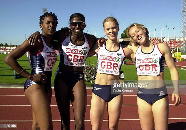 The Great Britain 4x400 meters team N Danvers Donna Fraser S Dudgeon and Alison Curbishley during the Spar European Cup at Gateshead Newcastle...