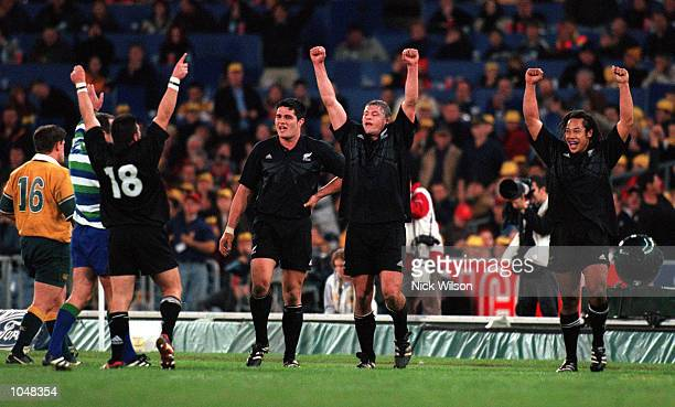 The New Zealand team celebrate their win after the match between Australia v New Zealand for the Bledisloe Cup at Stadium Australia Sydney...