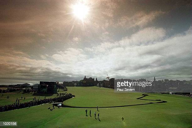 The opening group on the first green during the first round at the 2000 British Open golf Championships at the Old Course St Andrews Scotland...