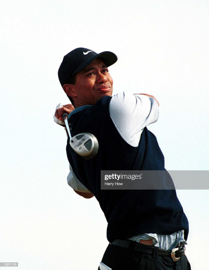 Tiger Woods of the USA drives off the tee during the third round of the British Open Golf Championships at the Old Course, St Andrews, Scotland. Mandatory Credit: Harry How/ALLSPORT