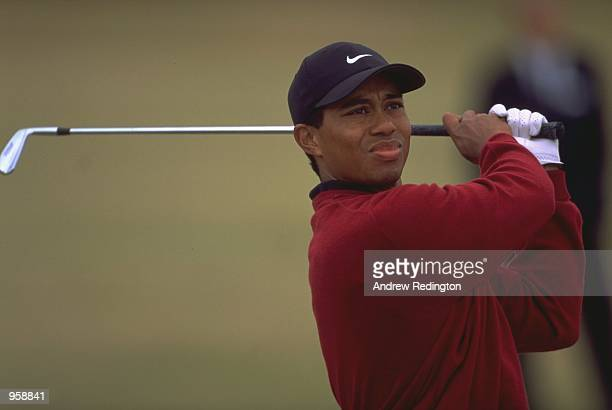 Tiger Woods of the USA in action during the British Open 2000 held at the Old Course St Andrews in Fife Scotland Mandatory Credit Andrew Redington...