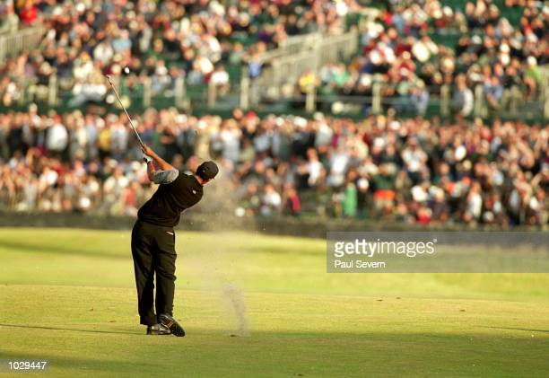 Tiger Woods of the USA in action during the second round of the British Open on the Old Course at St Andrews in Scotland Mandatory Credit Paul Severn...
