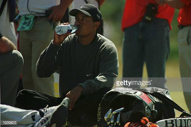 Tiger Woods of the USA on the fifth tee waiting for slow play during Second round of the British Open Golf Championships at the Old Course St Andrews...