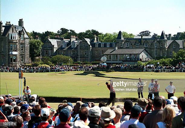 Tiger Woods of the USA plays off the second tee during the final round of the British Open Golf Championships at the Old Course, St Andrews,...