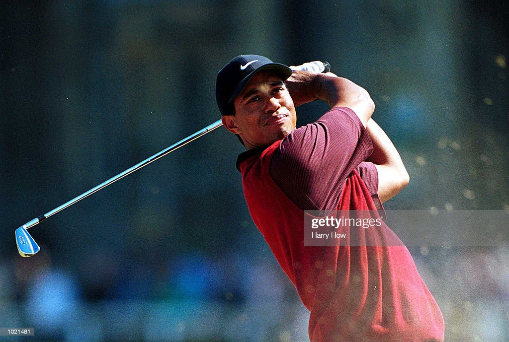 Tiger Woods of the USA plays off the second tee during the final round of the British Open Golf Championships at the Old Course, St Andrews, Scotland. Mandatory Credit: Harry How/ALLSPORT