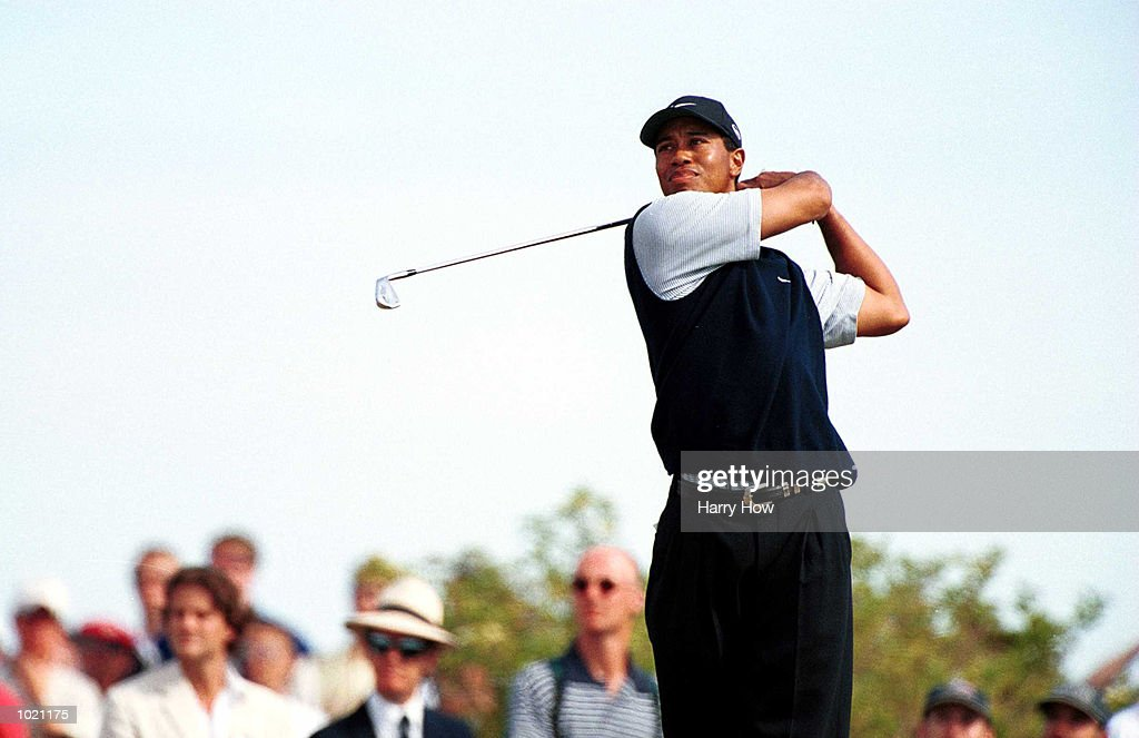 Tiger Woods of the USA plays off the tee during the third round of the British Open Golf Championships at the Old Course, St Andrews, Scotland. Mandatory Credit: Harry How/ALLSPORT