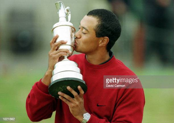 Tiger Woods of the USA with the trophy after winning the British Open Golf Championships at the Old Course St Andrews Scotland Mandatory Credit David...