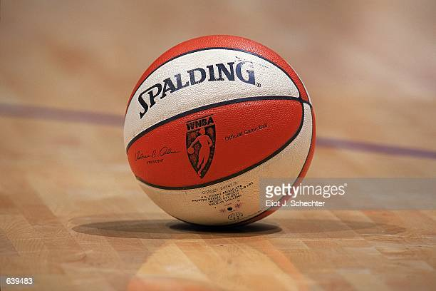 A close up of the detail on the basketball during the game between the Los Angeles Sparks and the Sacramento Monarchs at the STAPLES Center in Los...