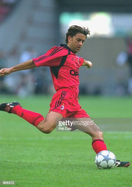 Alessandro Costacurta of AC Milan clears the ball from danger during the preseason friendly tournament match against Valencia played at the Amsterdam...