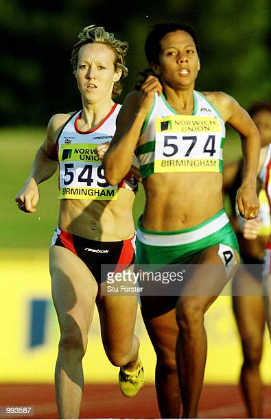 Allison Curbishley of Edinburgh trails Jo Fenn of Woodford during the 800m womens heats at the Norwich Union World Championship Trials AAA...
