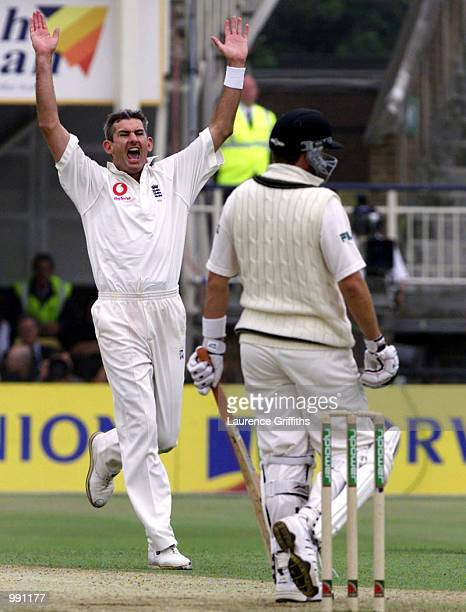 Andrew Caddick of England celebrates the wicket of Mark Waugh of Australia during the 2nd day of the npower Ashes first test match between England v...