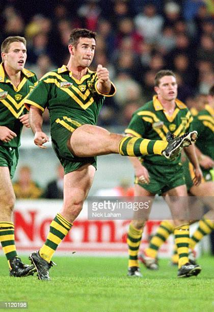 Andrew Johns for Australia in action during the Rugby League Test Match played between New Zealand and Australia held at Westpac Trust Stadium...