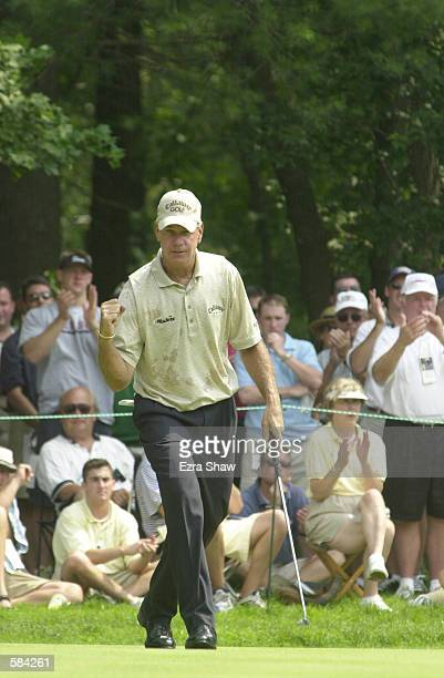 Bruce Fleisher pumps his fist after holing a putt during the final round of the 2001 US Senior Open at Salem CC in Peabody Mass <DIGITAL IMAGE>...