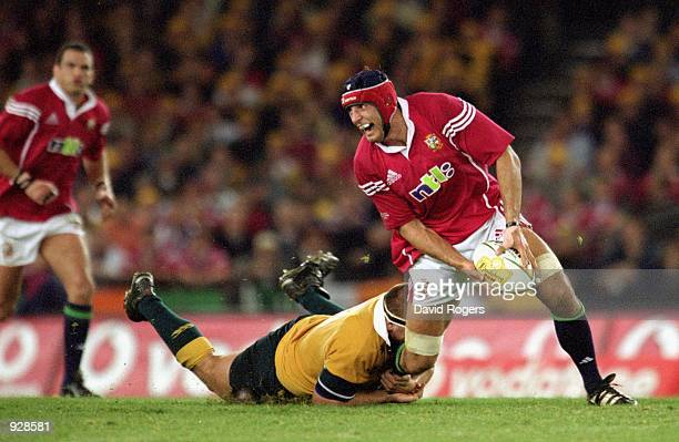 Danny Grewcock for the Lions in action during the second Test Match between the Australian Wallabies and the British and Irish Lions played at...