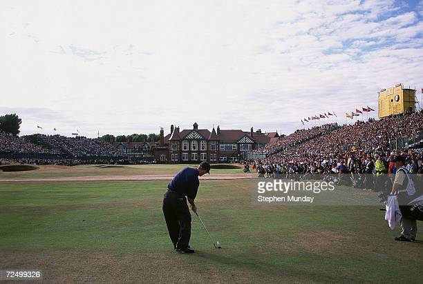 David Duval of USA plays his 2nd shot to the 18th during the 130th British Open Championship held at Royal Lytham and St Annes in Lancashire England...