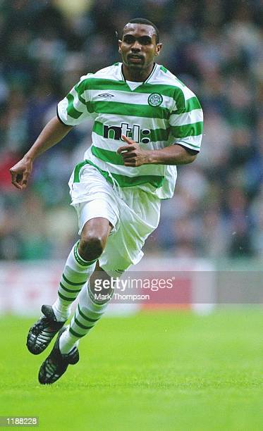 Didier Agathe of Celtic in action during the preseason friendly match against Fulham played at Celtic Park in Glasgow Scotland Celtic won the match...