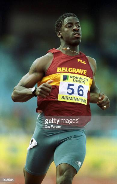 Dwain Chambers of Belgrave after winning the mens semifinals at the Norwich Union World Trials AAA Championships held at the Alexander Stadium...