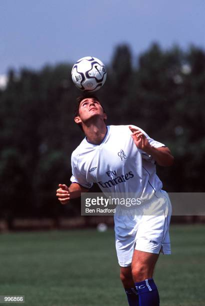 Frank Lampard plays keepitup at the launch of the new Chelsea away kit at the Chelsea Training Ground at Harlington London Mandatory Credit Ben...