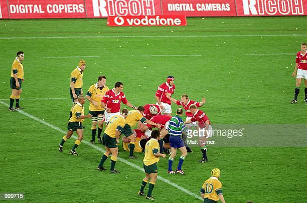 General action during the third Test Match between the Australian Wallabies and the British and Irish Lions played at Stadium Australia, Sydney,...