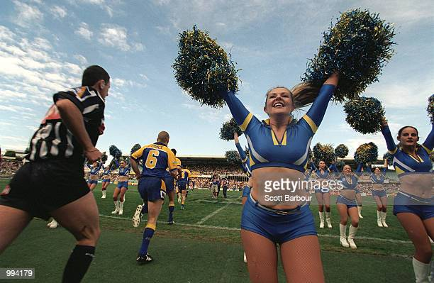 General view as the players run onto the field during the round 19 NRL match between the Parramatta Eels and the Canberra Raiders played at...