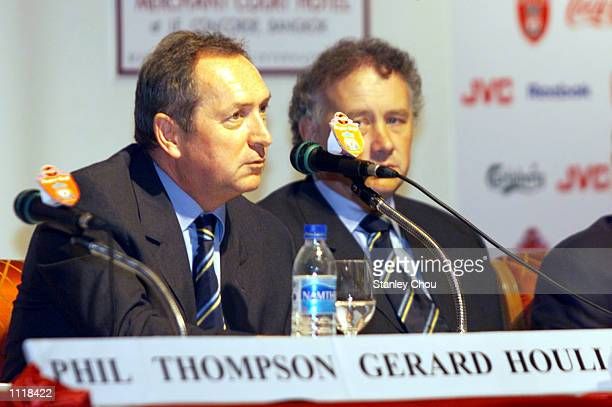 Gerard Houllier Manager of Liverpool delivers a speech while while Rick Parry Chief Executive of Liverpool looks on at the Welcome Media Press...