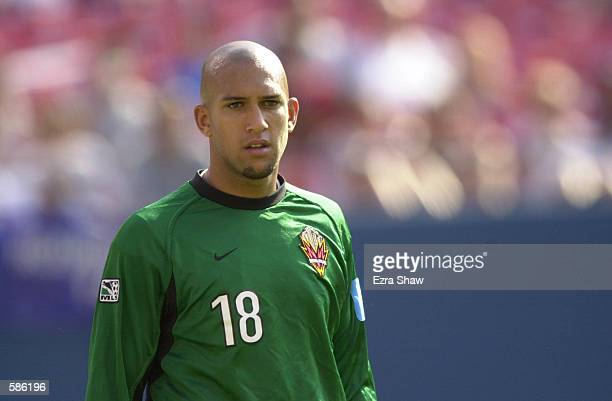 Goalkeeper Tim Howard of the New York/ New Jersey MetroStars observes his team during the match against the D.C. United at Giants Stadium in East...