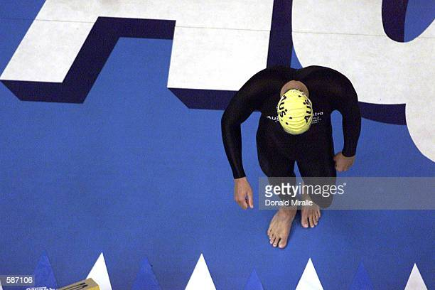 Ian Thorpe of Australia prepares for the anchor leg of the New World Record in the men's 4X200M Freestyle Relay during the finals of at the Marine...